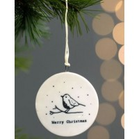 EAST OF INDIA `MERRY CHRISTMAS`ROBINS FLAT PORCELAIN BAUBLE