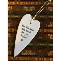 East of India Porcelain Gift Hanging Heart `Bless This House`