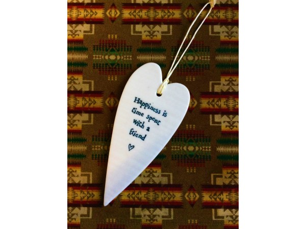 East of India Porcelain Gift Hanging Heart `Happiness/Friend`