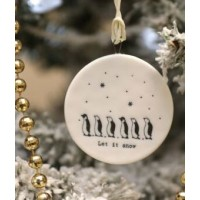 EAST OF INDIA `LET IT SNOW`FLAT PORCELAIN BAUBLE