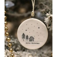 EAST OF INDIA `MERRY CHRISTMAS` FLAT PORCELAIN BAUBLE