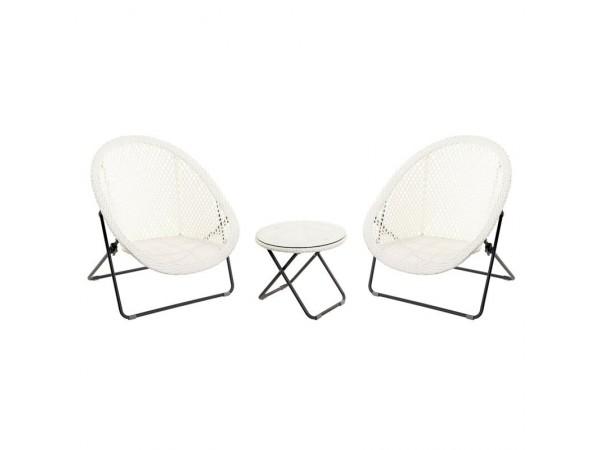 TOBS Faux Rattan Folding Lounge Set Ice White