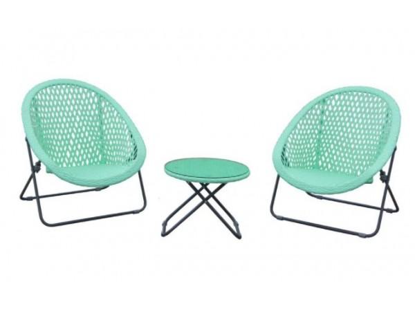 TOBS Faux Rattan Folding Lounge Set Cool Mint