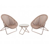 TOBS Faux Rattan Folding Lounge Set Natural