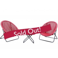 TOBS Faux Rattan Folding Lounge Set Chillie Red