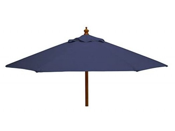 Wooden 2.7m Round Parasol in Blue or Green