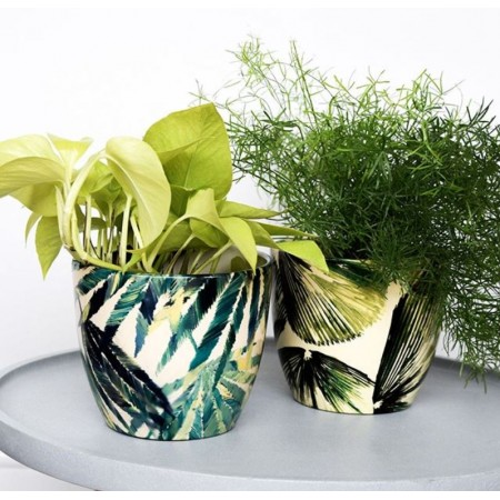 IVYLINE MONZA BOTANICAL PALM COVER POT